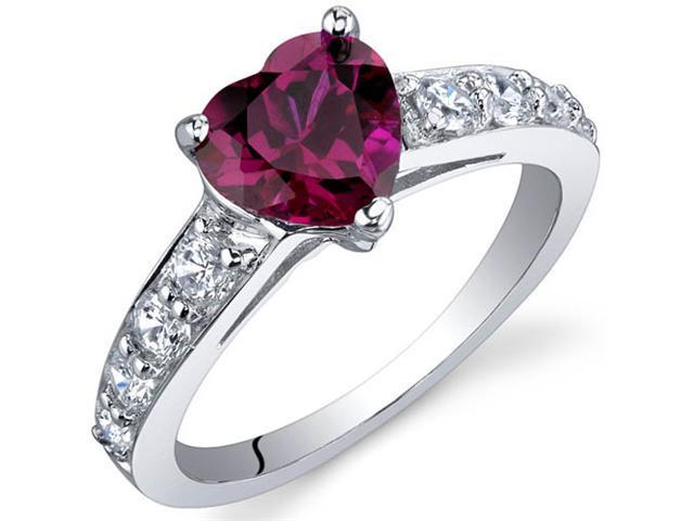 Dazzling Love 1.50 Carats Ruby Ring in Sterling Silver Size 7