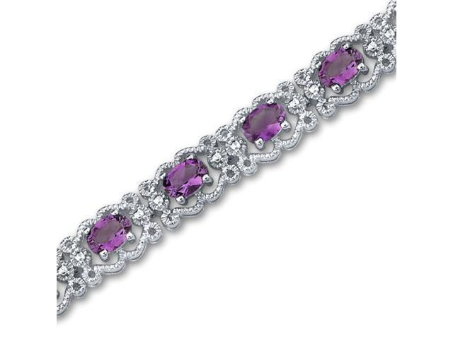 Antique Styling 6.00 carats total weight Oval Cut Amethyst Gemstone Bracelet in Sterling Silver