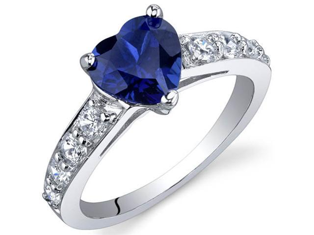 Dazzling Love 1.75 Carats Blue Sapphire Ring in Sterling Silver Size 9