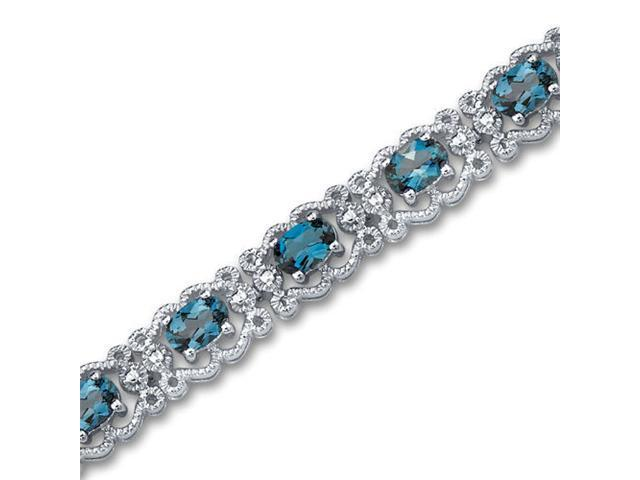 Antique Styling 8.50 carats total weight Oval Cut London Blue Topaz Gemstone Bracelet in Sterling Silver