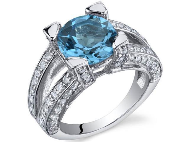 Boldly Glamorous 3.00 Carats Swiss Blue Topaz in Sterling Silver Size 5