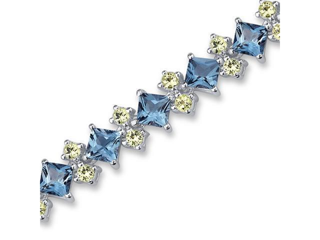 Distinctive Design 17.50 carats total weight Princess & Round Cut London Blue Topaz Peridot Bracelet in Sterling Silver