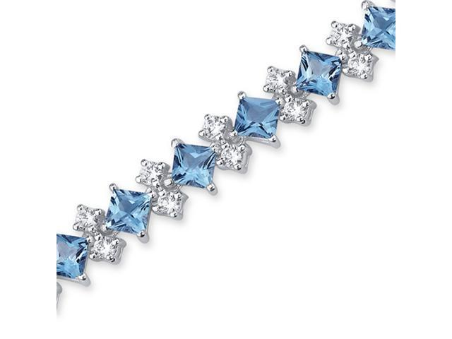 Distinctive Design 13.50 carats total weight Princess Cut Swiss Blue Topaz White CZ Gemstone Bracelet in Sterling Silver