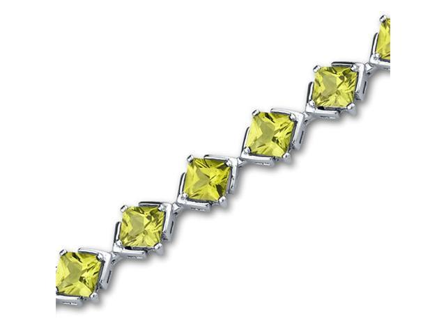 Classy & Elegant 11.25 carats total weight Princess Cut Peridot Gemstone Bracelet in Sterling Silver