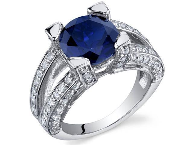 Boldly Glamorous 3.75 Carats Blue Sapphire Ring in Sterling Silver Size 8