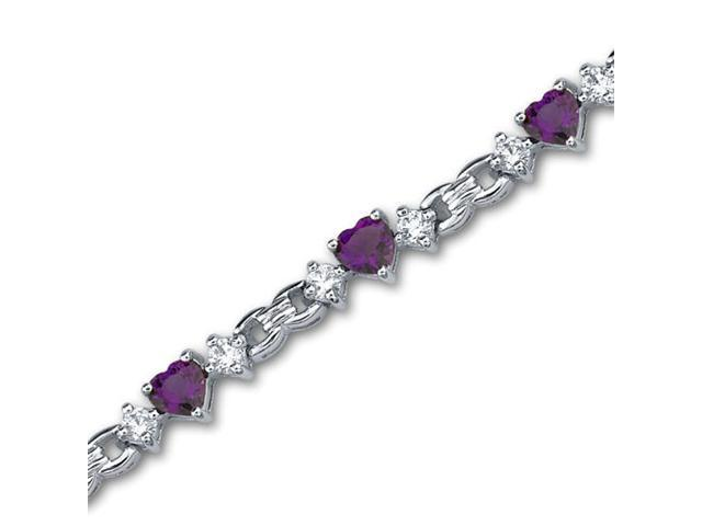 Alluring Design 3.75 carats total weight Heart Shape Amethyst & White CZ Gemstone Bracelet in Sterling Silver