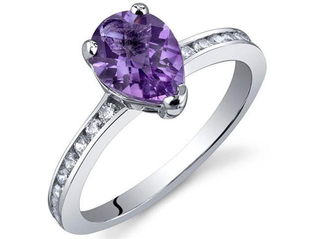 Uniquely Sophisticated 1.00 Carats Amethyst Ring in Sterling Silver Size 7