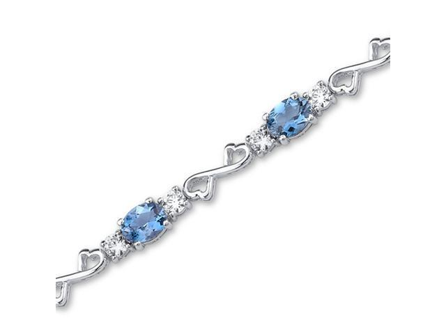 Designed just for you 9.00 carats total weight Oval Cut London Blue Topaz White CZ Gemstone Bracelet in Sterling Silver