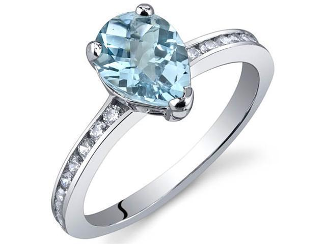 Uniquely Sophisticated 1.25 Carats Swiss Blue Topaz Ring in Sterling Silver Size 7
