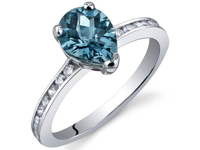 Uniquely Sophisticated 1.25 Carats London Blue Topaz Ring in Sterling Silver Size 5