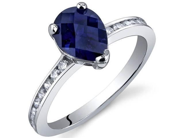 Uniquely Sophisticated 1.50 Carats Blue Sapphire Ring in Sterling Silver Size 9
