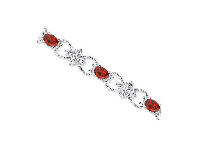 Delicate Filigree Design 7.00 carats total weight Oval Cut Garnet & White CZ Gemstone Bracelet in Sterling Silver