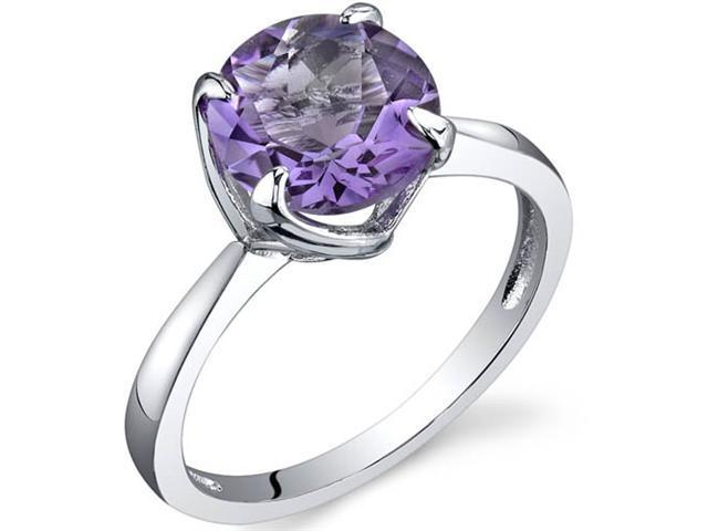 Sublime Solitaire 1.75 Carats Amethyst Ring in Sterling Silver Size 8