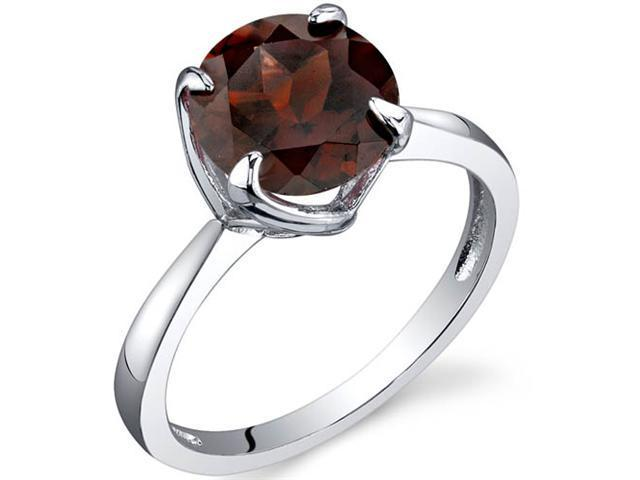 Sublime Solitaire 2.25 Carats Garnet Ring in Sterling Silver Size 9
