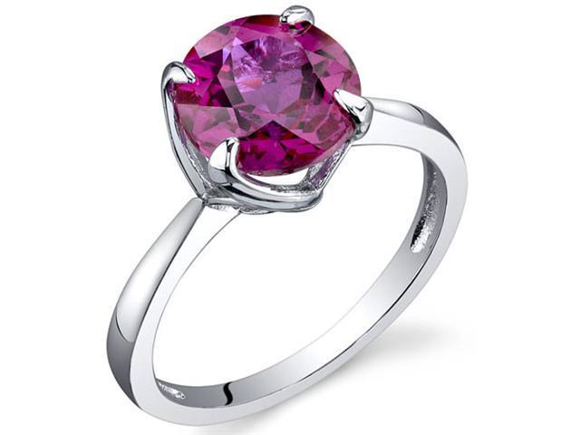 Sublime Solitaire 2.25 Carats Ruby Ring in Sterling Silver Size 7