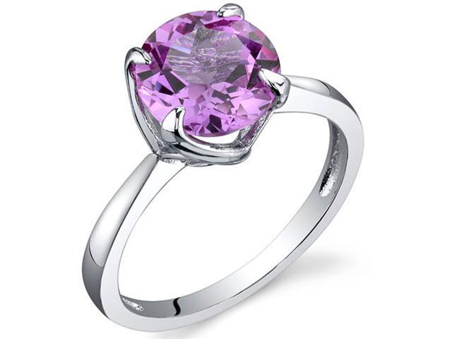 Sublime Solitaire 2.50 Carats Pink Sapphire Ring in Sterling Silver Size 8