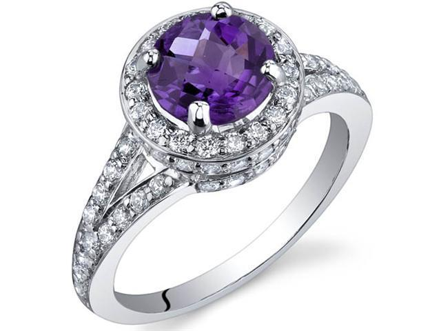 Majestic Sensation 1.25 Carats Amethyst Ring in Sterling Silver Size 7