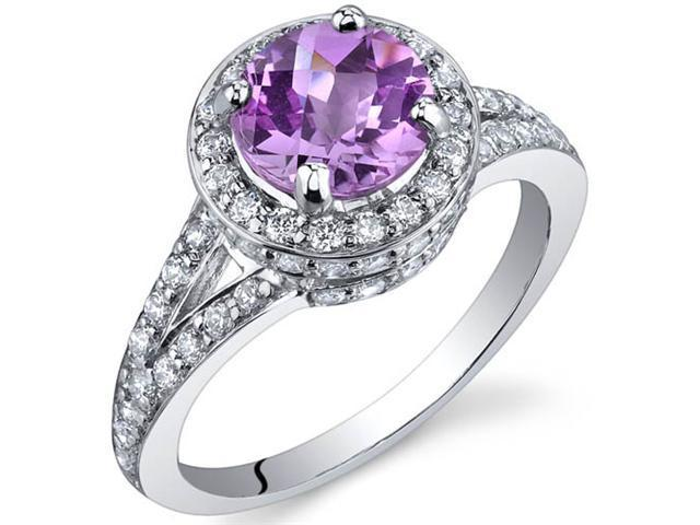 Majestic Sensation 1.75 Carats Pink Sapphire Ring in Sterling Silver Size 7
