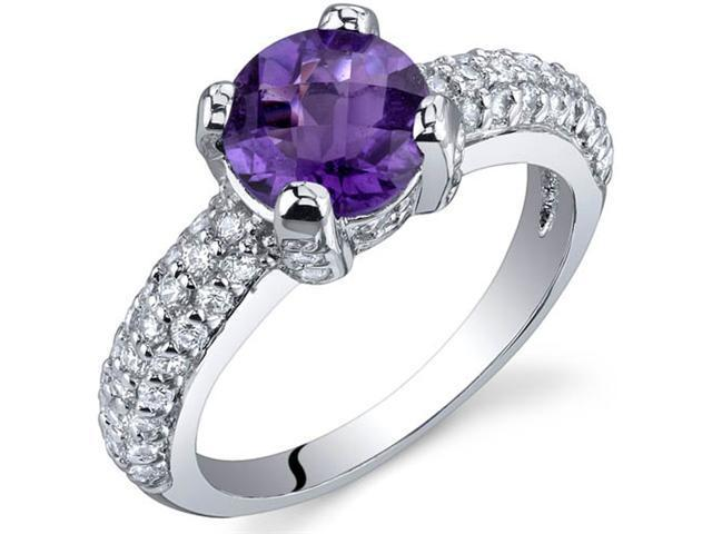 Stunning Seduction 1.25 Carats Amethyst Ring in Sterling Silver Size 8