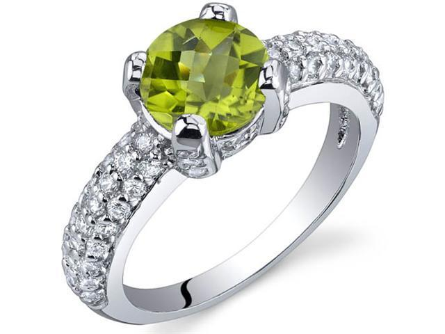 Stunning Seduction 1.25 Carats Peridot Ring in Sterling Silver Size 8