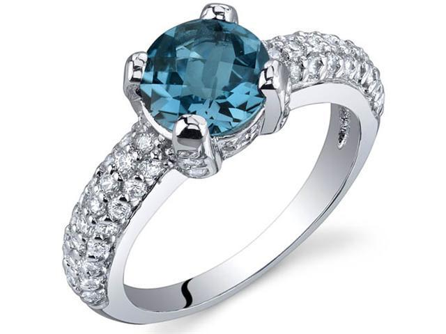 Stunning Seduction 1.50 Carats London Blue Topaz Ring in Sterling Silver Size 5