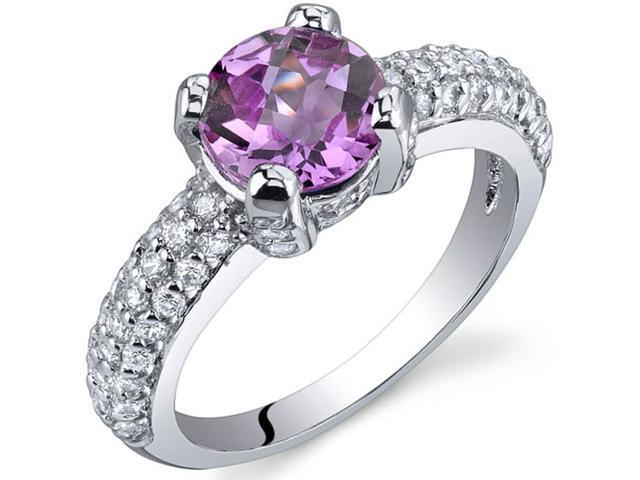 Stunning Seduction 1.75 Carats Pink Sapphire Ring in Sterling Silver Size 5