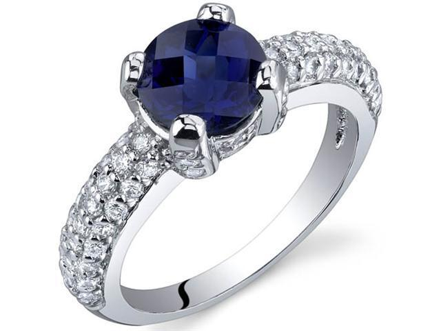 Stunning Seduction 1.75 Carats Blue Sapphire Ring in Sterling Silver Size 5