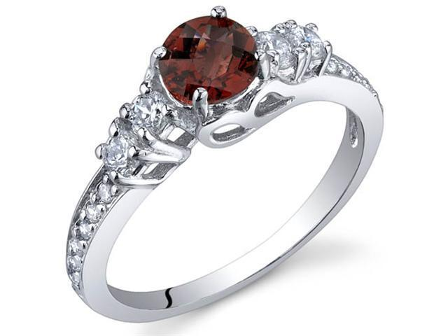 Enchanting 0.50 Carats Garnet Ring in Sterling Silver Size 9
