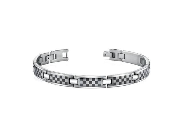 Oravo SB3472 Stainless Steel Mens Bracelet with Laser ChessBoard Pattern