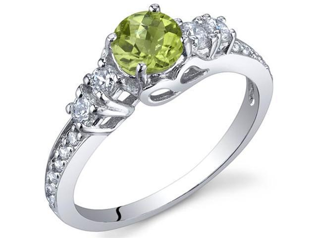 Enchanting 0.50 Carats Peridot Ring in Sterling Silver Size 9
