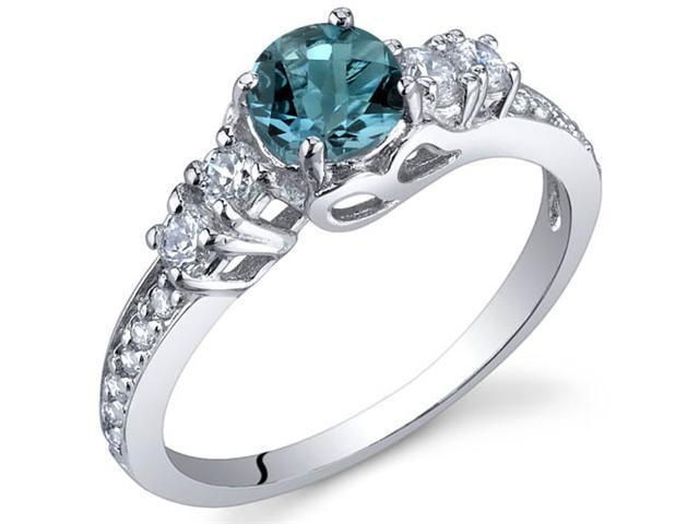 Enchanting 0.50 Carats London Blue Topaz Ring in Sterling Silver Size 7