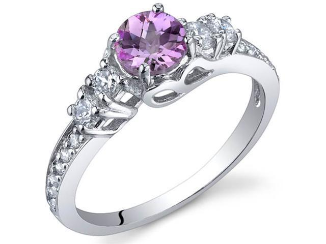 Enchanting 0.50 Carats Pink Sapphire Ring in Sterling Silver Size 8