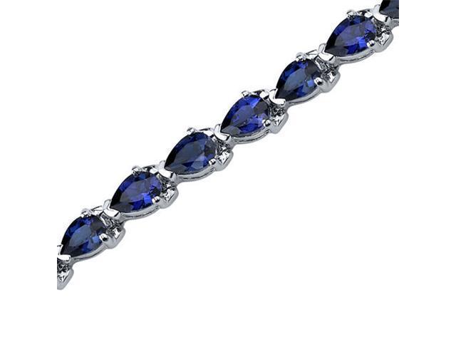 Magnificent Desire: Pear Shape Blue Sapphire Gemstone Bracelet in Sterling Silver
