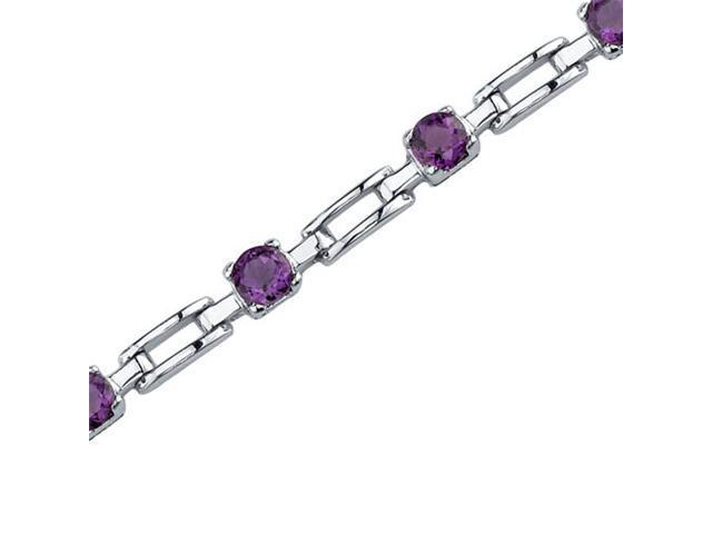 Gorgeous and Chic: 2.50 carats total weight Round Shape Amethyst Gemstone Bracelet in Sterling Silver