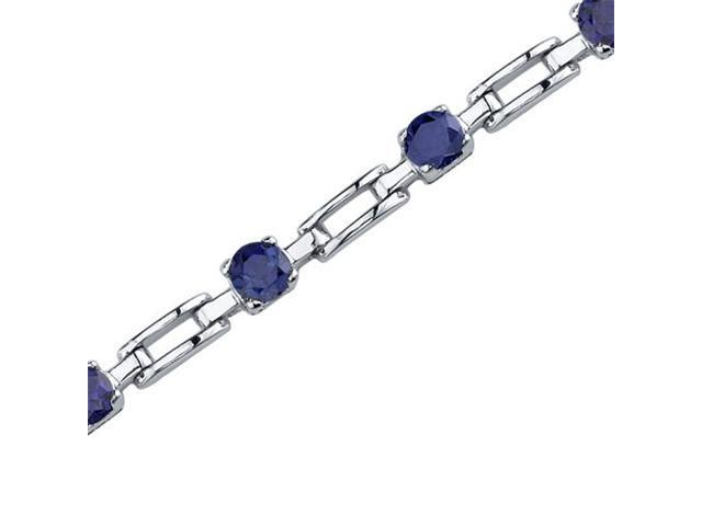 Gorgeous and Chic: Round Shape Blue Sapphire Gemstone Bracelet in Sterling Silver