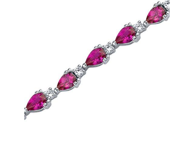 Chic and Beautiful: Pear Shape Ruby & White CZ Gemstone Bracelet in Sterling Silver