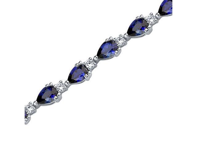 Chic and Beautiful: Pear Shape Blue Sapphire & White CZ Gemstone Bracelet in Sterling Silver