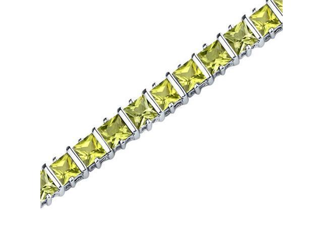 Gracefully Impressive: 12.25 carats total weight Princess Cut Peridot Gemstone Bracelet in Sterling Silver