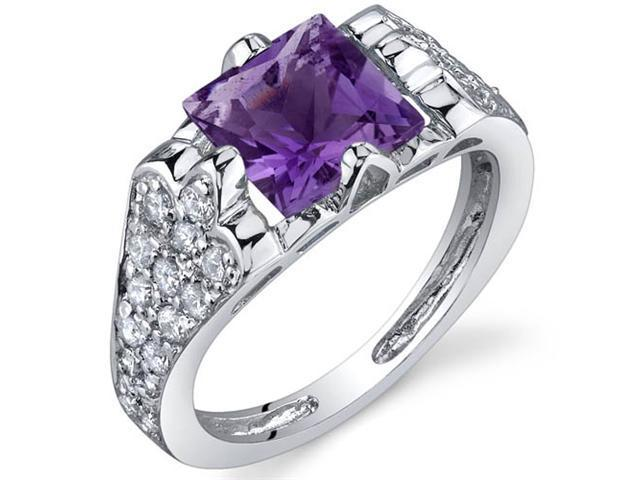 Elegant Opulence 1.50 Carats Amethyst Ring in Sterling Silver Size 9
