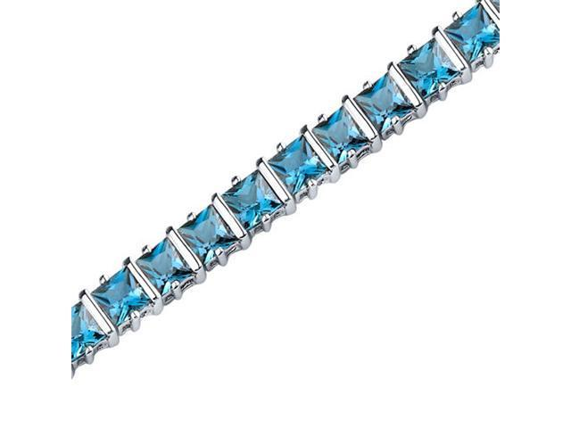 Gracefully Impressive: 13.25 carats total weight Princess Cut London Blue Topaz Gemstone Bracelet in Sterling Silver