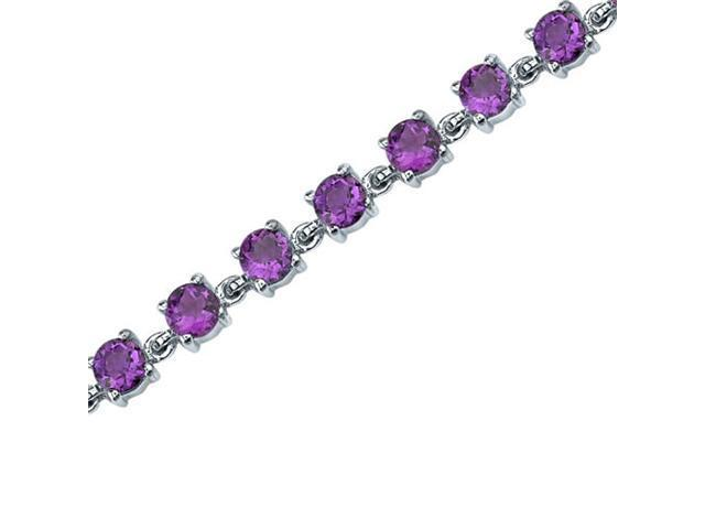 Eternally Magnificent: 6.00 carats total weight Round Shape Amethyst Gemstone Bracelet in Sterling Silver