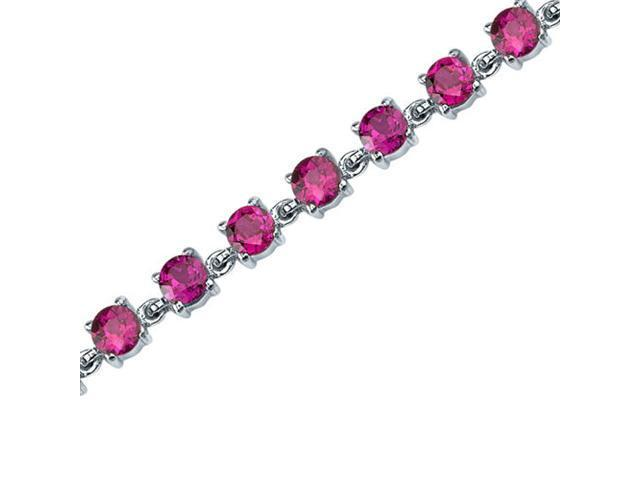 Round Shape Created Ruby in Sterling Silver Bracelet
