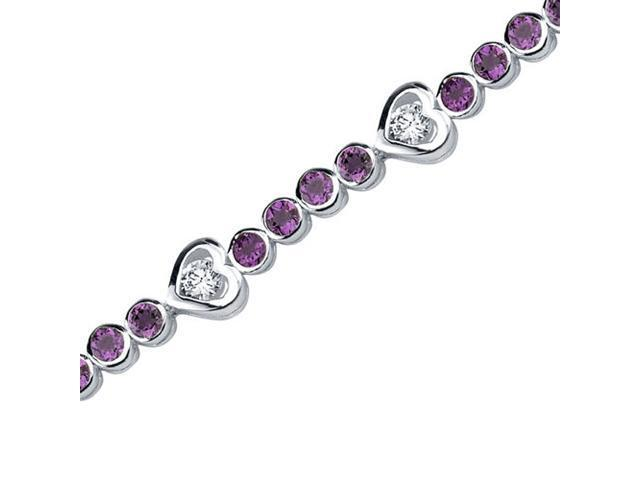 Dazzling Fascination: 3.00 carats total weight Round Shape Amethyst & White CZ Gemstone Bracelet in Sterling Silver