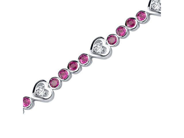 Dazzling Fascination: Round Shape Ruby & White CZ Gemstone Bracelet in Sterling Silver