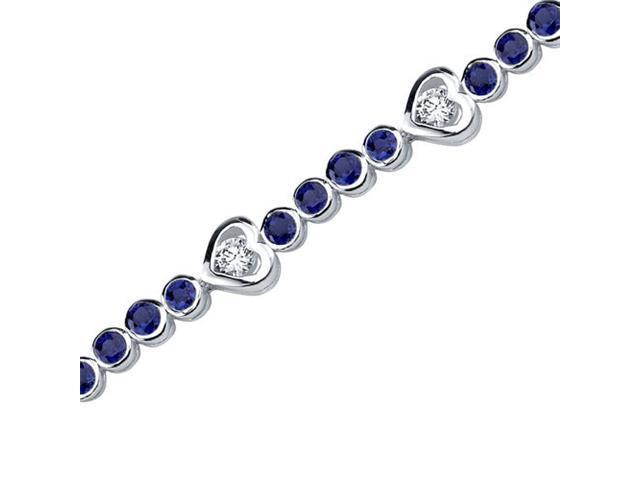 Dazzling Fascination: Round Shape Blue Sapphire & White CZ Gemstone Bracelet in Sterling Silver