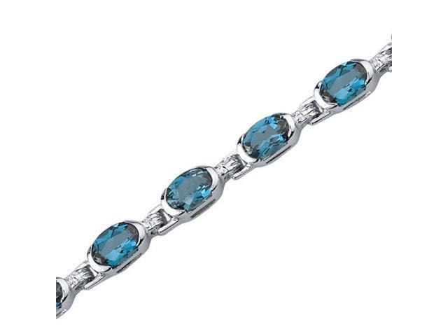 Exceptionally Stunning: 7.75 carats total weight Oval Shape London Blue Topaz Gemstone Bracelet in Sterling Silver