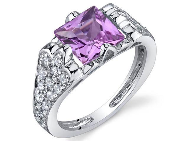 Elegant Opulence 2.00 Carats Pink Sapphire Ring in Sterling Silver Size 7