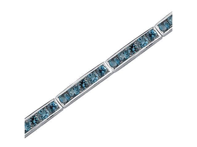 Desired Splendor: 6.00 carats total weight Round Shape London Blue Topaz Gemstone Bracelet in Sterling Silver