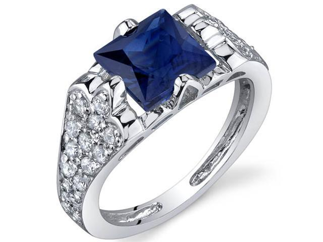 Elegant Opulence 2.50 Carats Blue Sapphire Ring in Sterling Silver Size 8