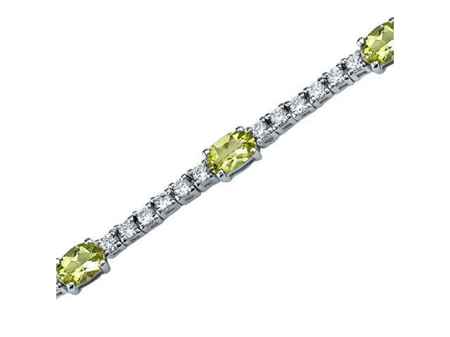 Extraordinary Showstopper: 3.75 carats total weight Oval Shape Peridot & White CZ Gemstone Bracelet in Sterling Silver